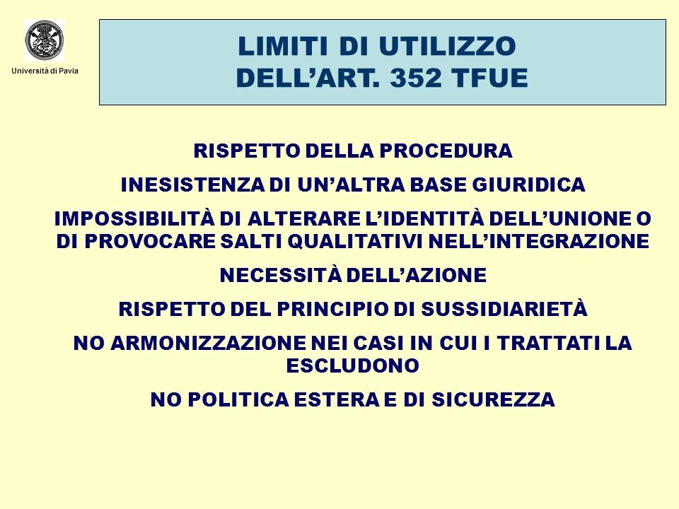LIMITI DI UTILIZZO DELL'ART. 352 TFUE RISPETTO DELLA PROCEDURA