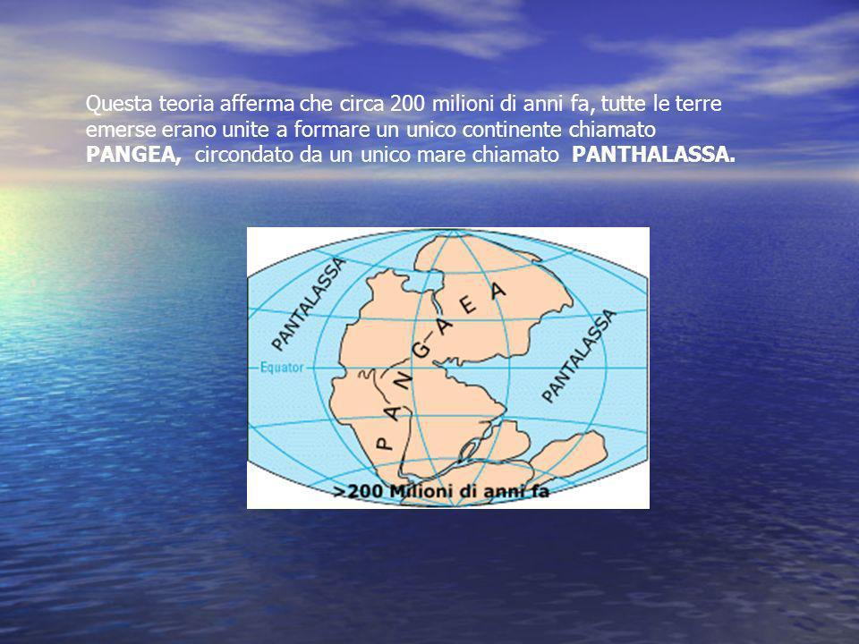 Questa teoria afferma che circa 200 milioni di anni fa, tutte le terre emerse erano unite a formare un unico continente chiamato PANGEA, circondato da un unico mare chiamato PANTHALASSA.