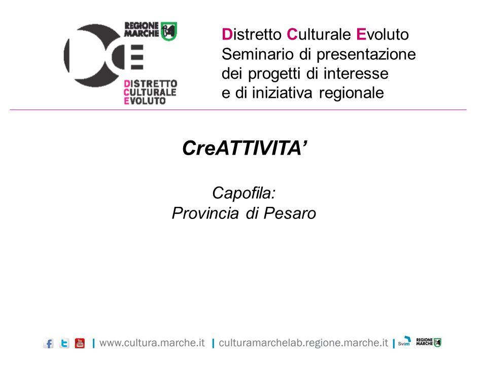 CreATTIVITA' Capofila: Provincia di Pesaro