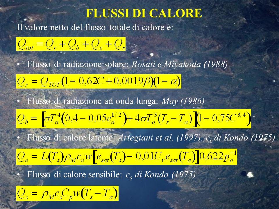 FLUSSI DI CALORE Il valore netto del flusso totale di calore è: