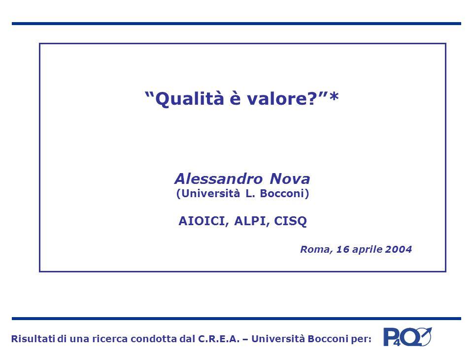 Qualità è valore. . Alessandro Nova (Università L