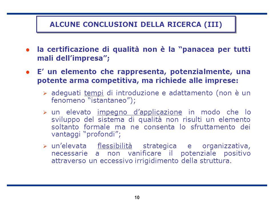 ALCUNE CONCLUSIONI DELLA RICERCA (III)