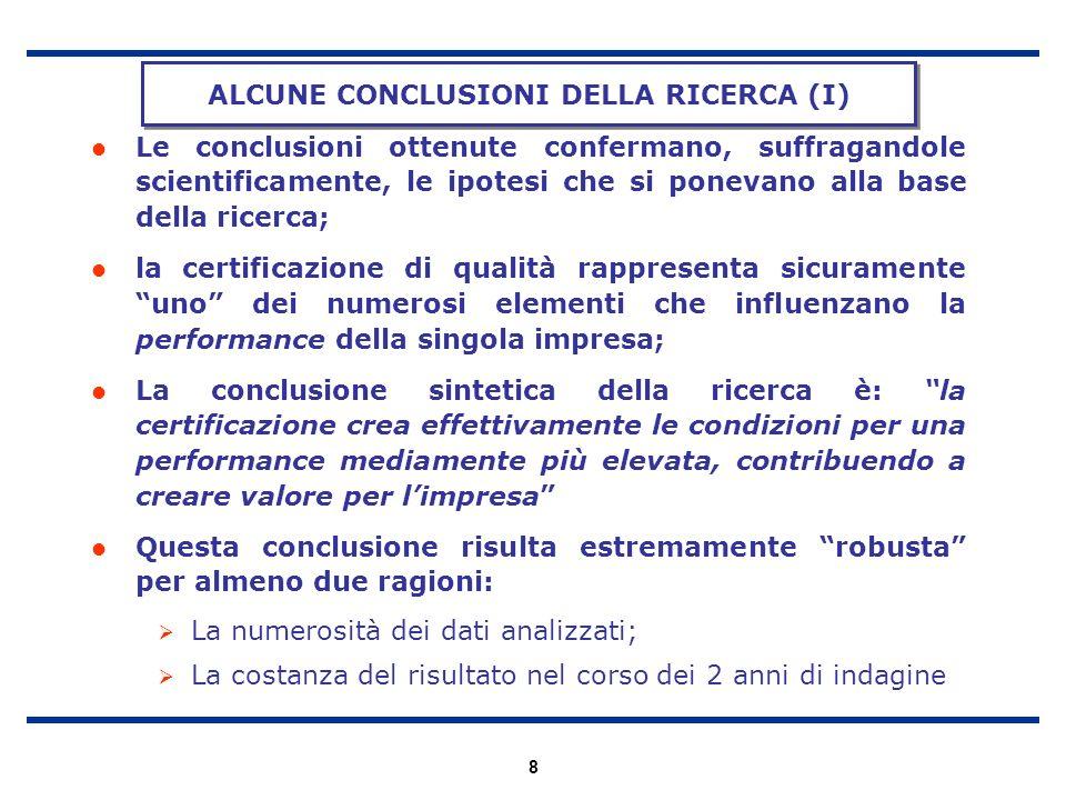 ALCUNE CONCLUSIONI DELLA RICERCA (I)