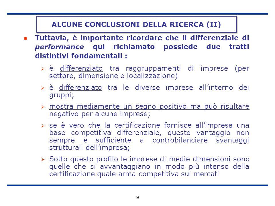 ALCUNE CONCLUSIONI DELLA RICERCA (II)