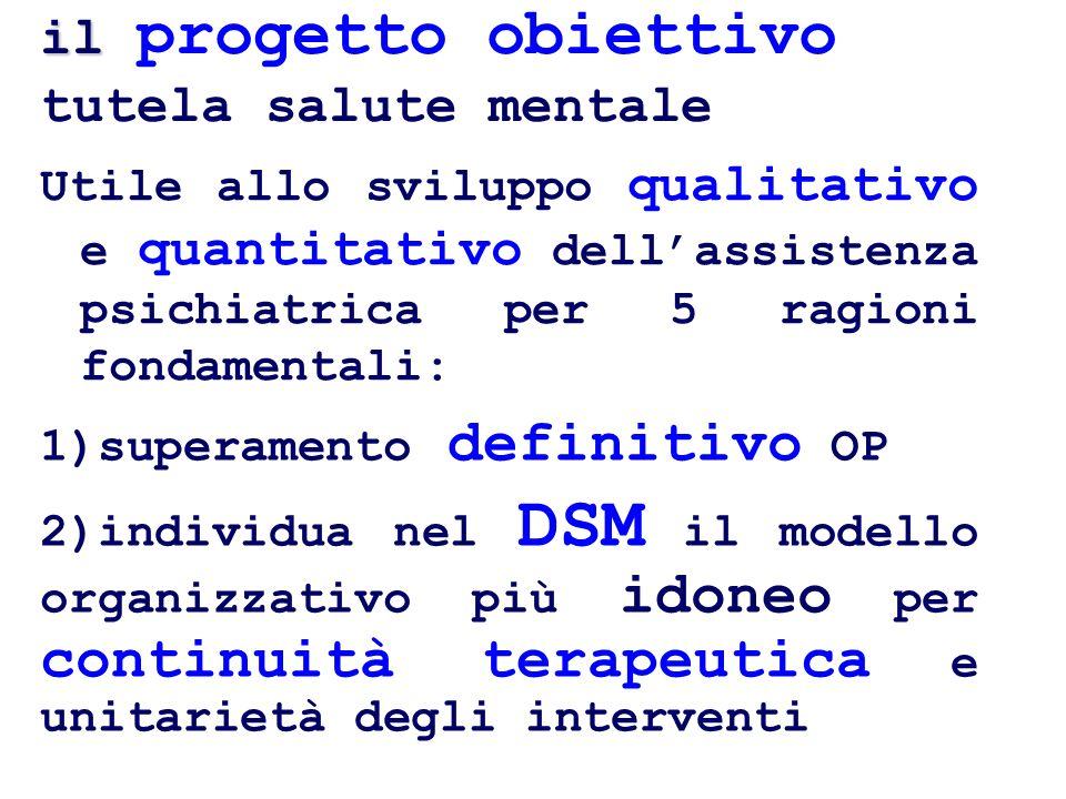 il progetto obiettivo tutela salute mentale