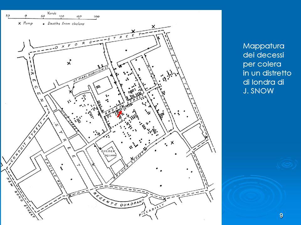 Mappatura dei decessi per colera in un distretto di londra di J. SNOW