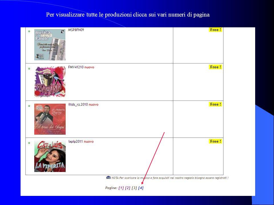 Per visualizzare tutte le produzioni clicca sui vari numeri di pagina