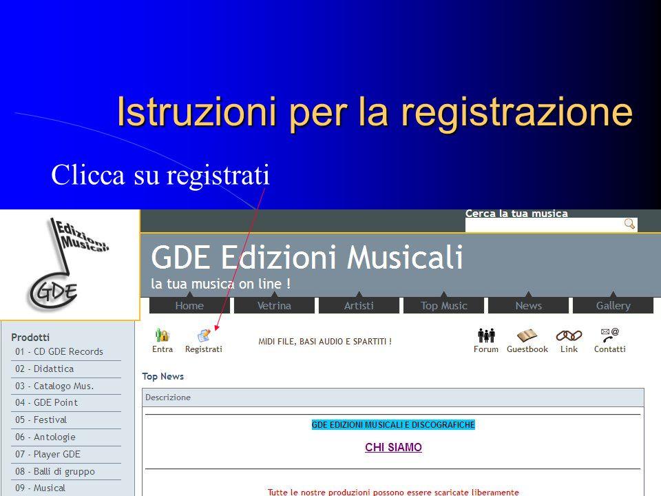 Istruzioni per la registrazione