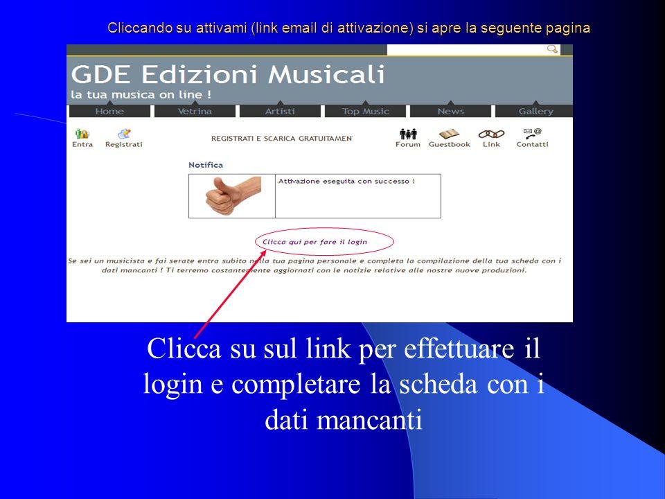 Cliccando su attivami (link email di attivazione) si apre la seguente pagina