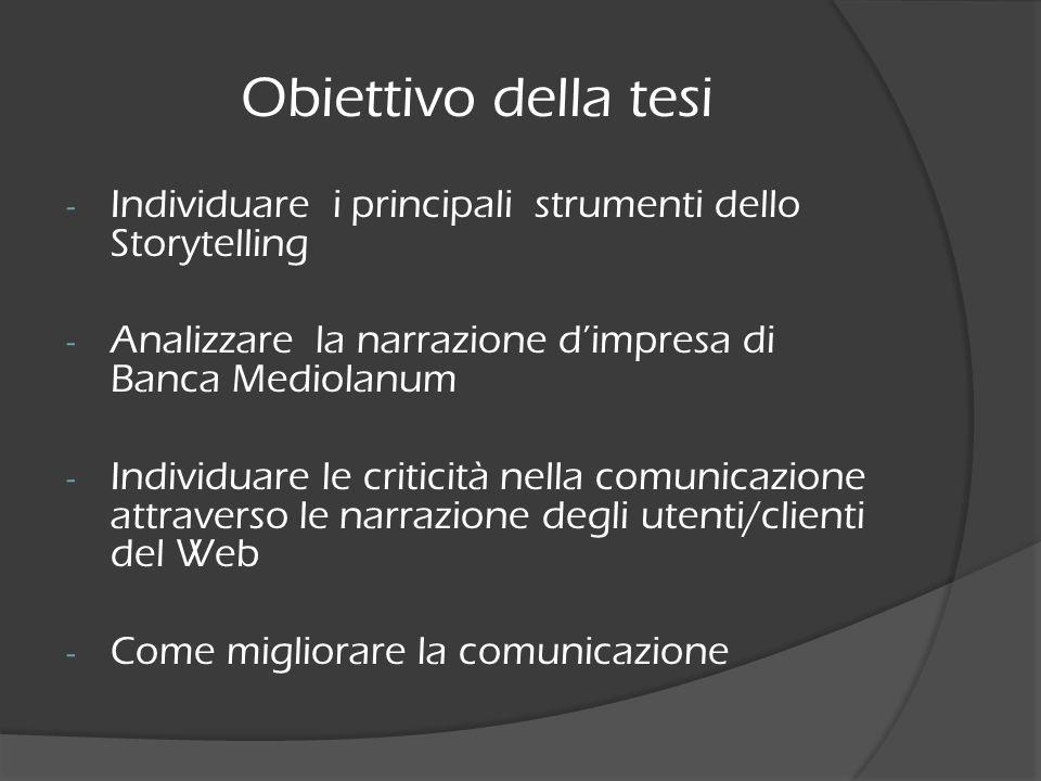 Obiettivo della tesi Individuare i principali strumenti dello Storytelling. Analizzare la narrazione d'impresa di Banca Mediolanum.