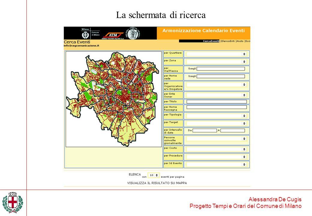 La schermata di ricerca