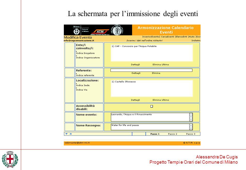 La schermata per l'immissione degli eventi