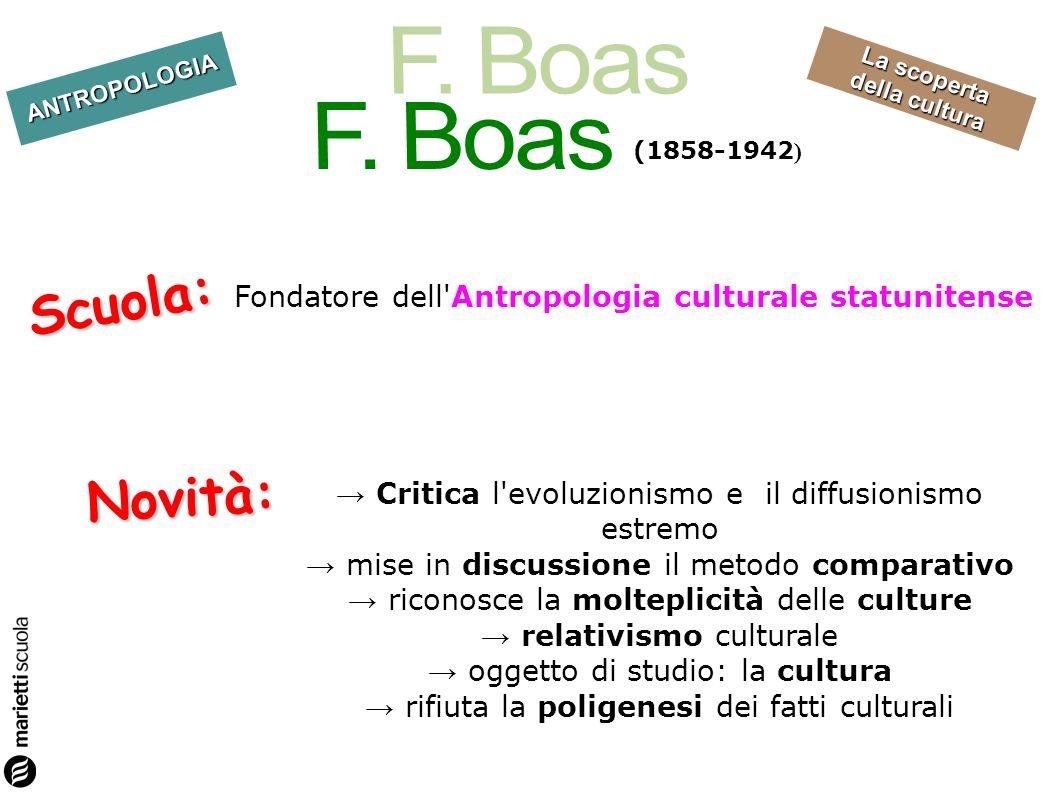 F. Boas (1858-1942) Scuola: Fondatore dell Antropologia culturale statunitense. Novità: → Critica l evoluzionismo e il diffusionismo estremo.