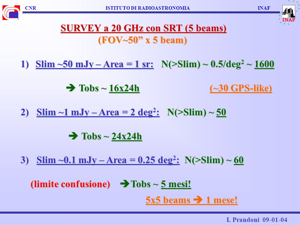 SURVEY a 20 GHz con SRT (5 beams) (FOV~50 x 5 beam)