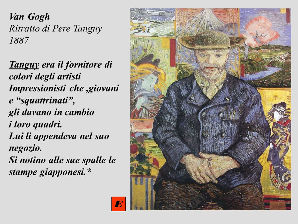 Van Gogh Ritratto di Pere Tanguy. 1887. Tanguy era il fornitore di. colori degli artisti. Impressionisti che ,giovani.