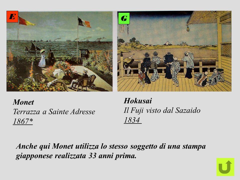 EG. Monet. Terrazza a Sainte Adresse. 1867* Hokusai. Il Fuji visto dal Sazaido. 1834. Anche qui Monet utilizza lo stesso soggetto di una stampa.