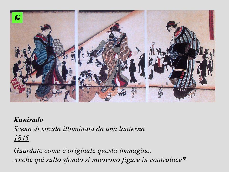 G Kunisada. Scena di strada illuminata da una lanterna. 1845. Guardate come è originale questa immagine.