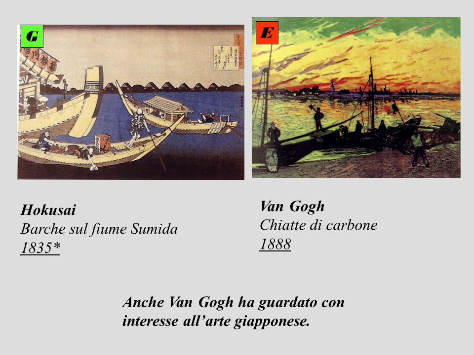 E G. Van Gogh. Chiatte di carbone. 1888. Hokusai. Barche sul fiume Sumida. 1835* Anche Van Gogh ha guardato con.
