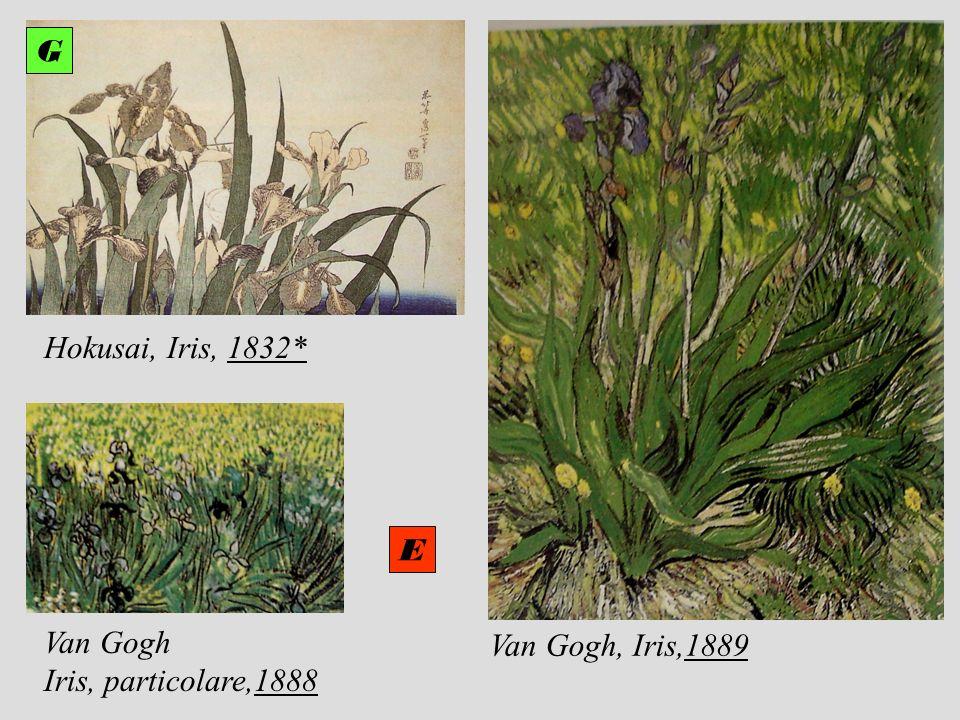 G G Hokusai, Iris, 1832* E Van Gogh Iris, particolare,1888 Van Gogh, Iris,1889
