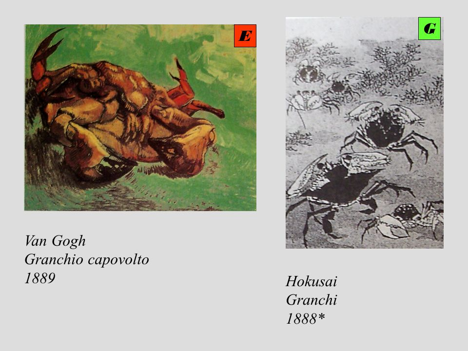 G E Van Gogh Granchio capovolto 1889 Hokusai Granchi 1888*