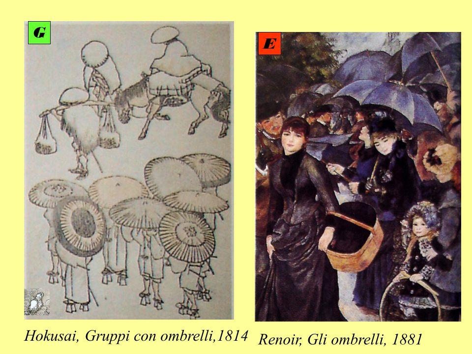 G E Hokusai, Gruppi con ombrelli,1814 Renoir, Gli ombrelli, 1881