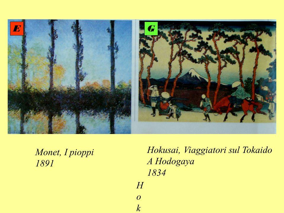E G Hokusai, Viaggiatori sul Tokaido A Hodogaya 1834 Monet, I pioppi 1891 Hokusa