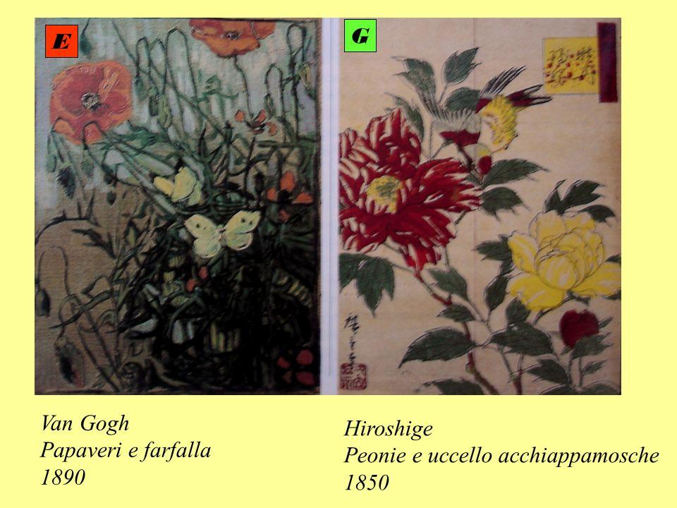 G E Van Gogh Papaveri e farfalla 1890 Hiroshige Peonie e uccello acchiappamosche 1850