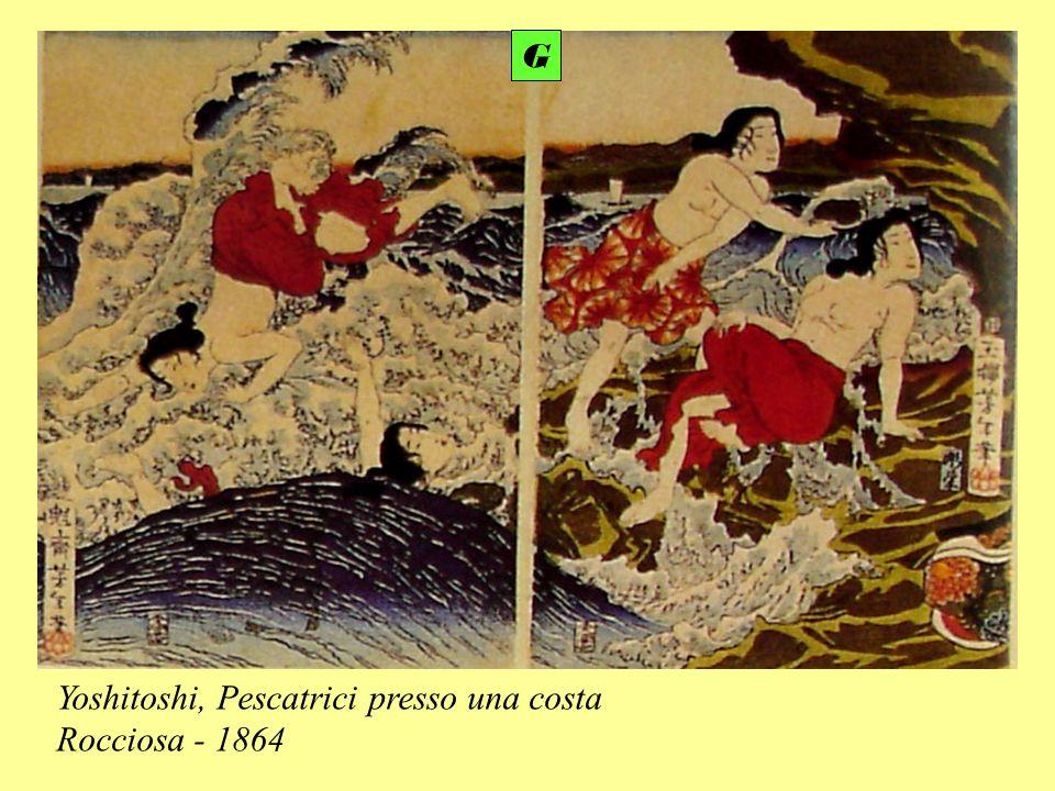 G Yoshitoshi, Pescatrici presso una costa Rocciosa - 1864