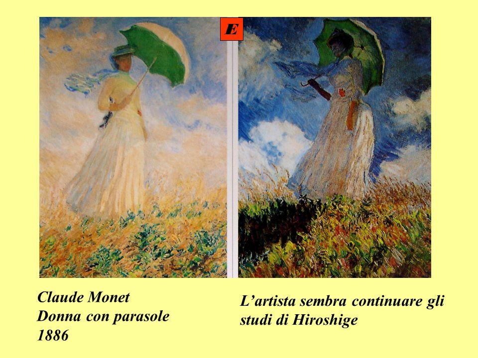 E Claude Monet Donna con parasole 1886 L'artista sembra continuare gli studi di Hiroshige