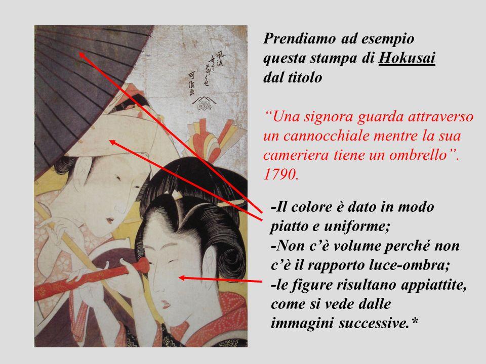 Prendiamo ad esempio questa stampa di Hokusai. dal titolo. Una signora guarda attraverso. un cannocchiale mentre la sua.