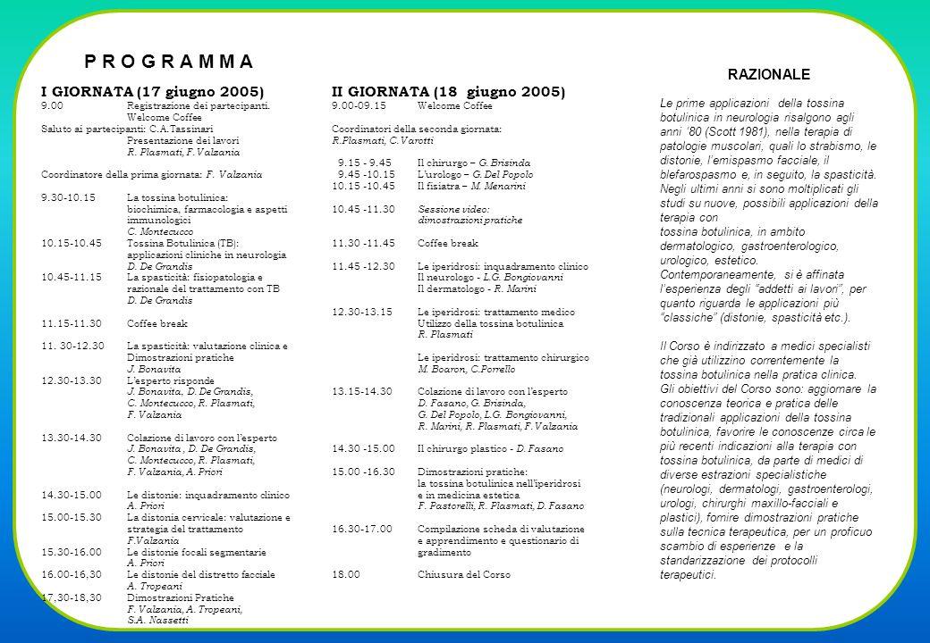 P R O G R A M M A RAZIONALE I GIORNATA (17 giugno 2005)