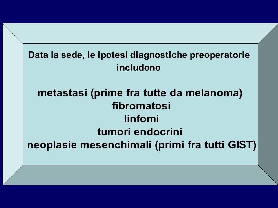 metastasi (prime fra tutte da melanoma) fibromatosi linfomi