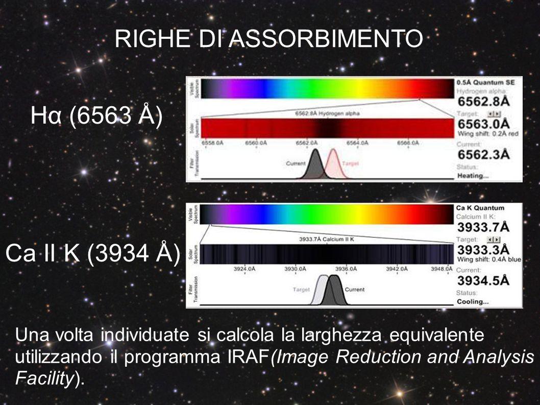 RIGHE DI ASSORBIMENTO Hα (6563 Å) Ca II K (3934 Å)