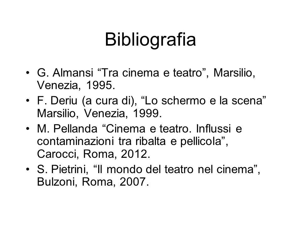 Bibliografia G. Almansi Tra cinema e teatro , Marsilio, Venezia, 1995. F. Deriu (a cura di), Lo schermo e la scena Marsilio, Venezia, 1999.