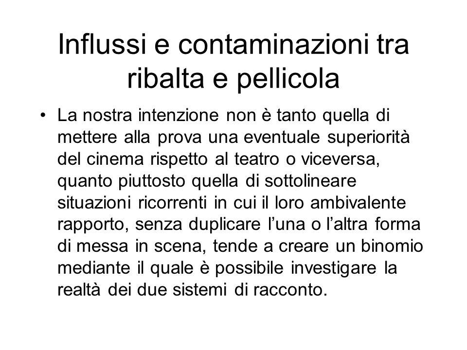 Influssi e contaminazioni tra ribalta e pellicola