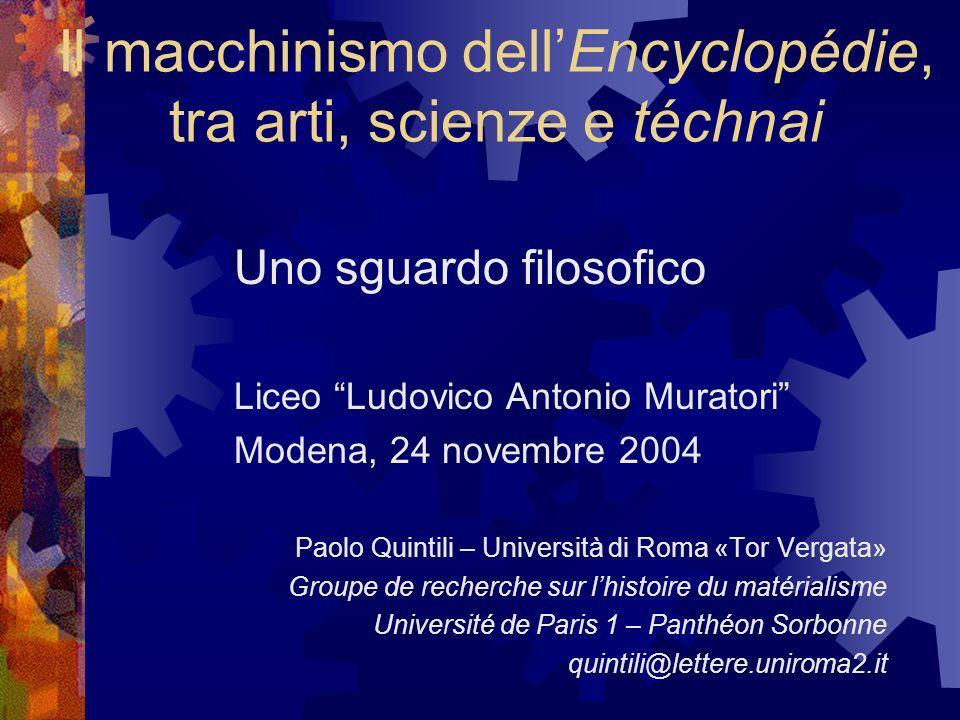 Il macchinismo dell'Encyclopédie, tra arti, scienze e téchnai