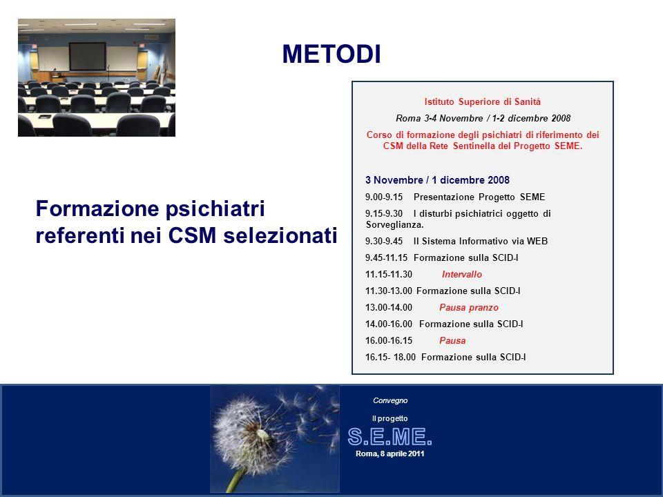 Istituto Superiore di Sanità Roma 3-4 Novembre / 1-2 dicembre 2008