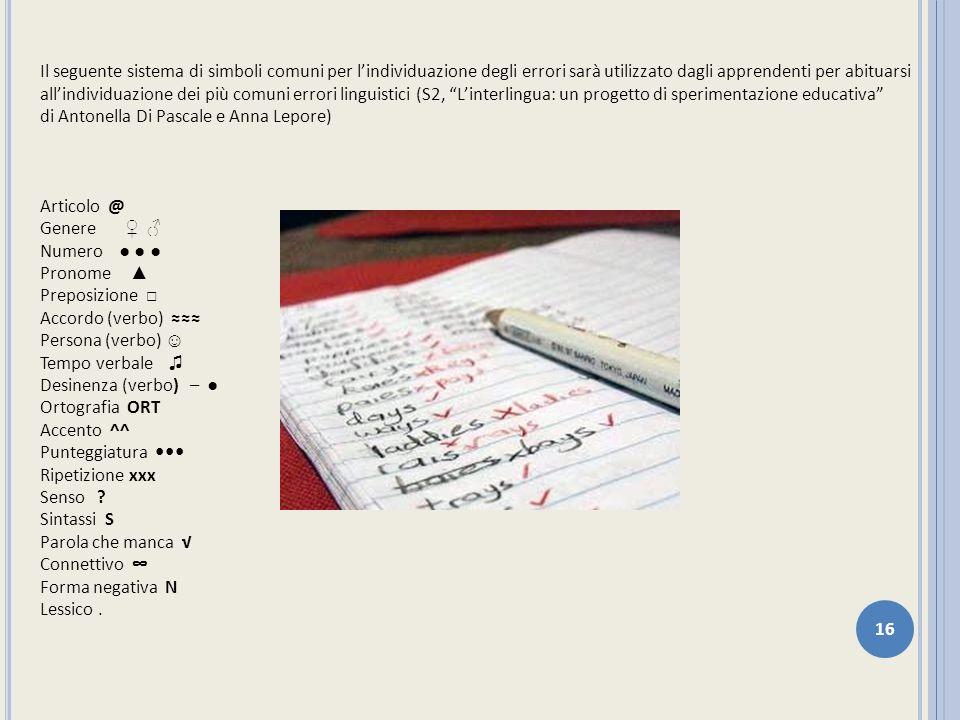 Il seguente sistema di simboli comuni per l'individuazione degli errori sarà utilizzato dagli apprendenti per abituarsi