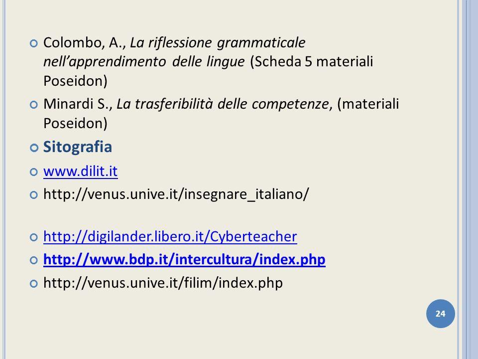 Colombo, A., La riflessione grammaticale nell'apprendimento delle lingue (Scheda 5 materiali Poseidon)
