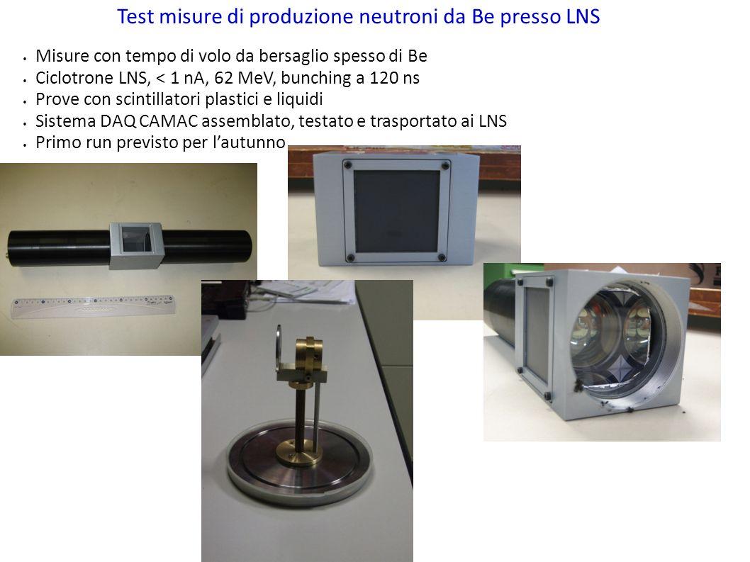 Test misure di produzione neutroni da Be presso LNS