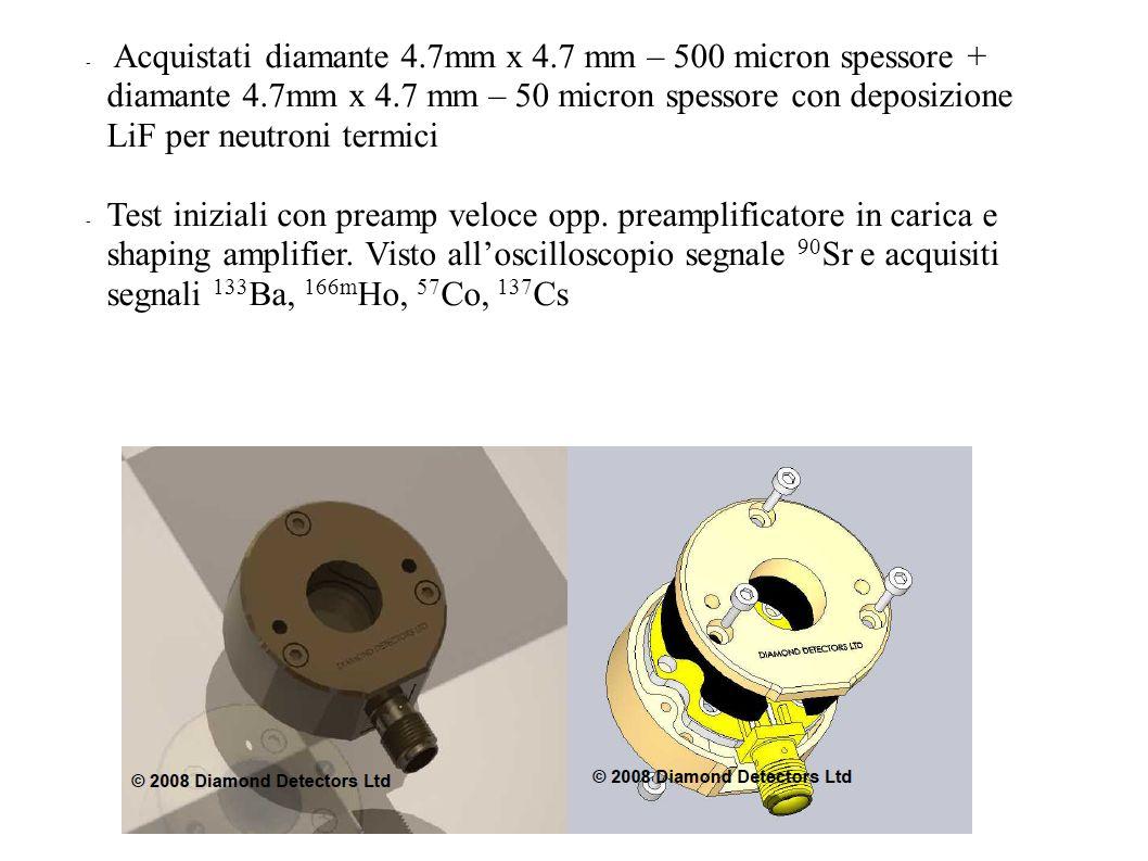Acquistati diamante 4.7mm x 4.7 mm – 500 micron spessore + diamante 4.7mm x 4.7 mm – 50 micron spessore con deposizione LiF per neutroni termici