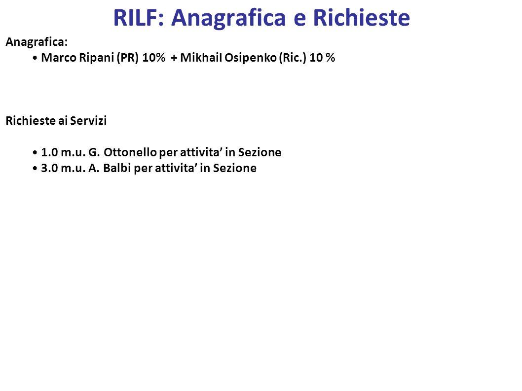 RILF: Anagrafica e Richieste
