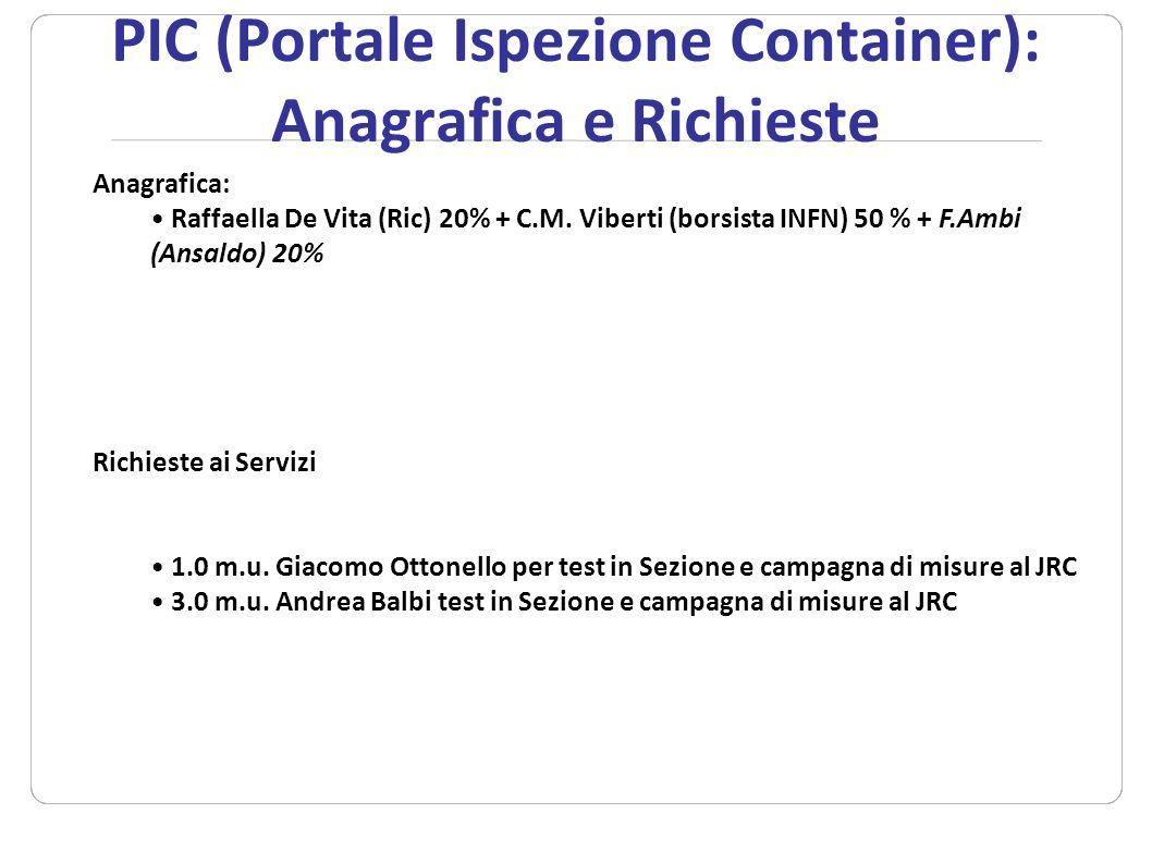 PIC (Portale Ispezione Container): Anagrafica e Richieste
