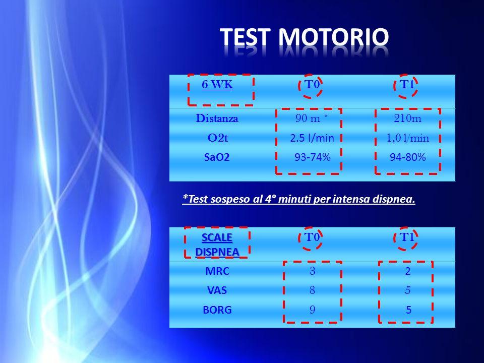 Test motorio 6 WK T0 T1 Distanza 90 m * 210m O2t 2.5 l/min 1,0 l/min