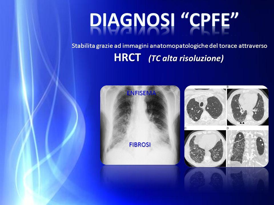 Diagnosi cpfe Stabilita grazie ad immagini anatomopatologiche del torace attraverso HRCT (TC alta risoluzione)