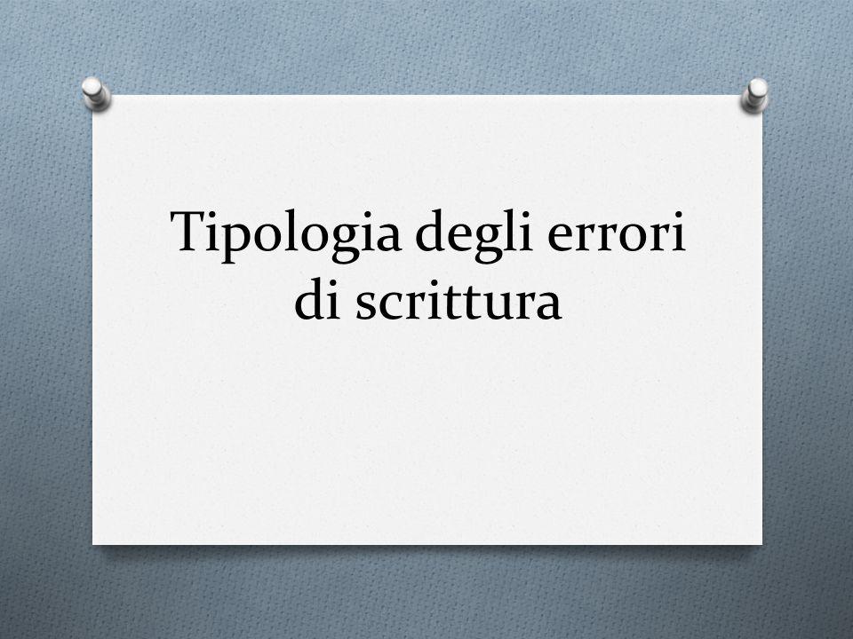 Tipologia degli errori di scrittura