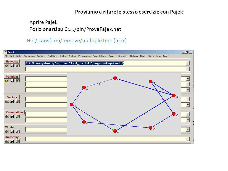 Proviamo a rifare lo stesso esercizio con Pajek: