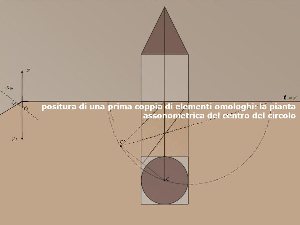 positura di una prima coppia di elementi omologhi: la pianta assonometrica del centro del circolo