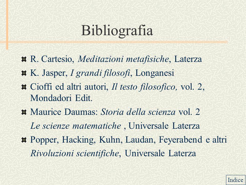 Bibliografia R. Cartesio, Meditazioni metafisiche, Laterza