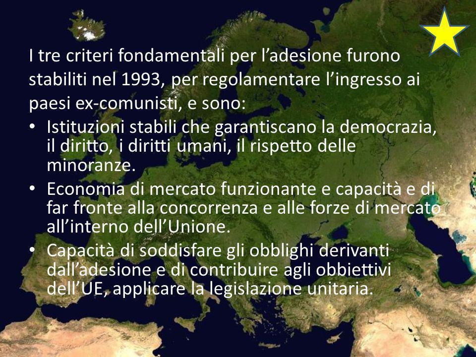 I tre criteri fondamentali per l'adesione furono